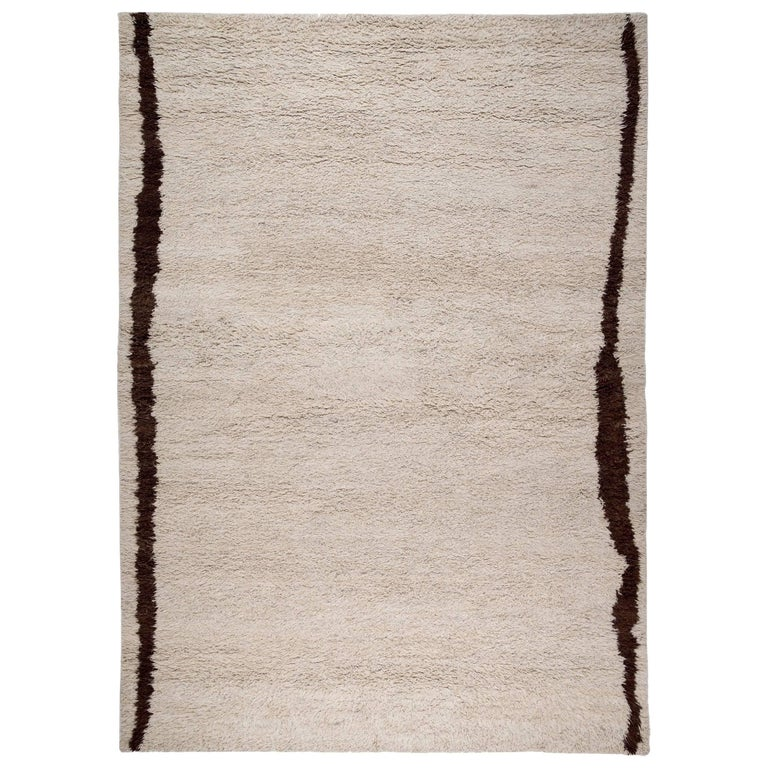 Contemporary Cream Wool Shag Area Rug For Sale At 1stdibs