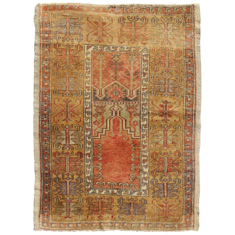 Burnt Orange Gold And Olive Green Vintage Turkish Oushak Rug With Wide Borders For