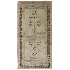 Taupe Background Turkish Vintage Oushak Rug with Tribal Design in Brown & Cream