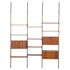 Italian Rosewood Floor to Ceiling Wall Unit or Bookshelf, 1950s
