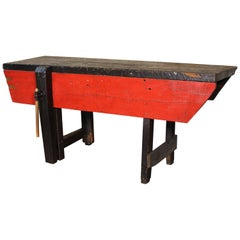 Workbench Carpenter's Table, Distressed Wood Vintage Bench Retail Display