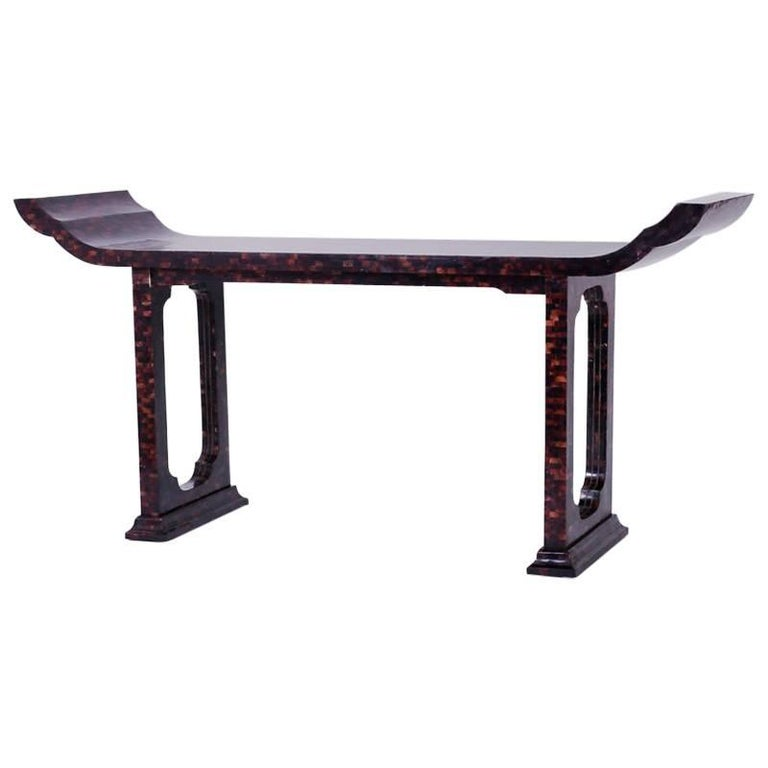 Mid-Century Penshell Pagoda Console or Hall Table For Sale