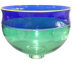 American Alex Brand Glass Incalmo Bowl Blue Green Yellow, 1999