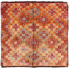 Colorful Square Antique Tulu Rug from Turkey with All-Over Diamond Pattern
