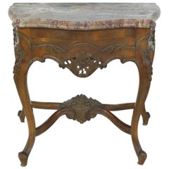 Petite Bow-Front Marble-Top Carved Wood Pier Table