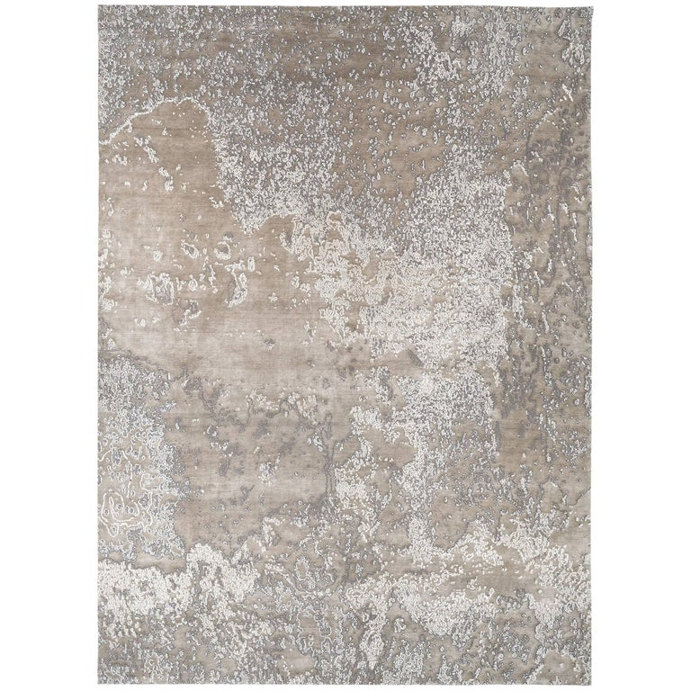 Organic Abstract Style Area Rug Aquarium Silver In Silk