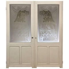 Pair of 19th Century Painted Doors with Etched Glass
