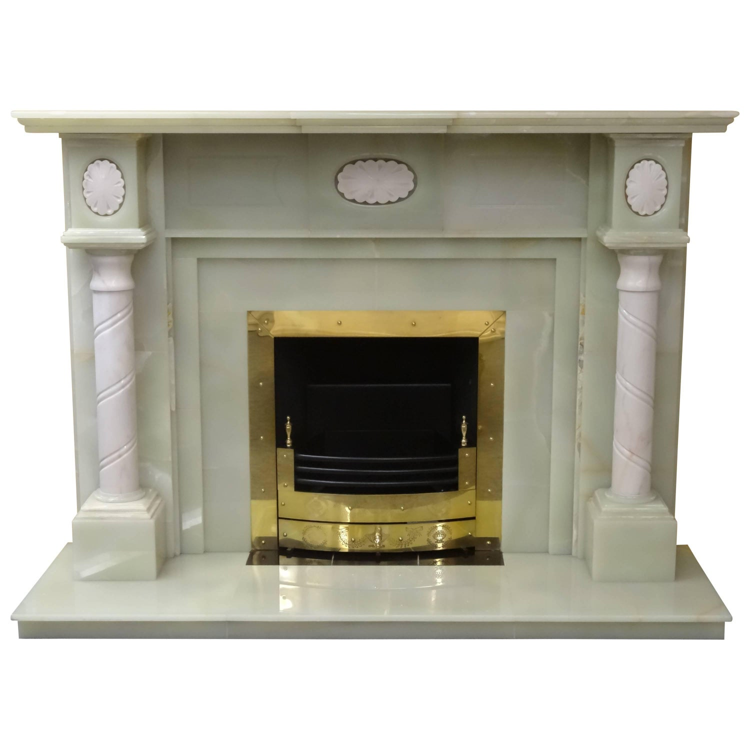 green onyx and carved marble fireplace with brass frame and fire
