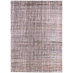 Multicolored Wool Rug with Scratch Out Plaid