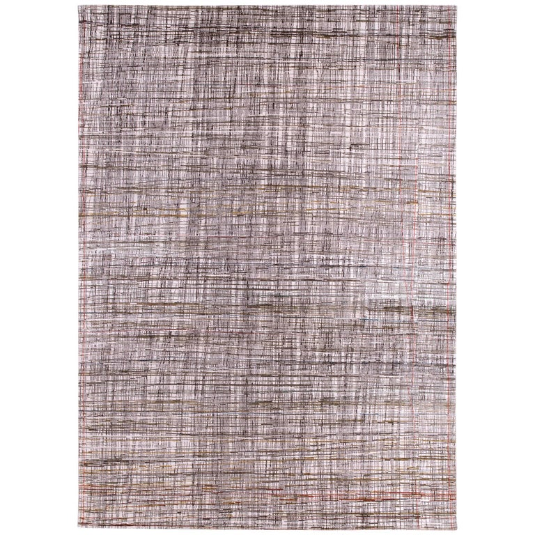 Contemporary nuetral wool and silk Rug by Carini