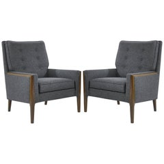 Mid-Century Modern High Back Lounge Chairs in Grey Wool