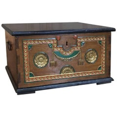 Antique Swiss Painted and Carved Trunk