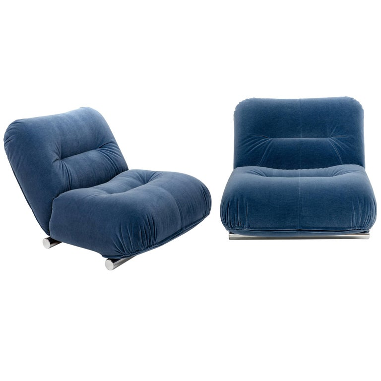 Pair of Mid-Century 1960s Italian Lounge Chairs in Blue Mohair with Chrome Legs For Sale