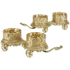 Royal Silver Gilt Wine Trolleys by Smith and Garrard