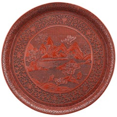 Chinese Carved Cinnabar Tray
