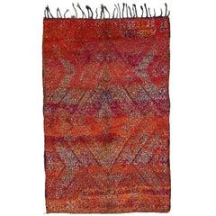 Red Vintage Beni M'guild Moroccan Rug