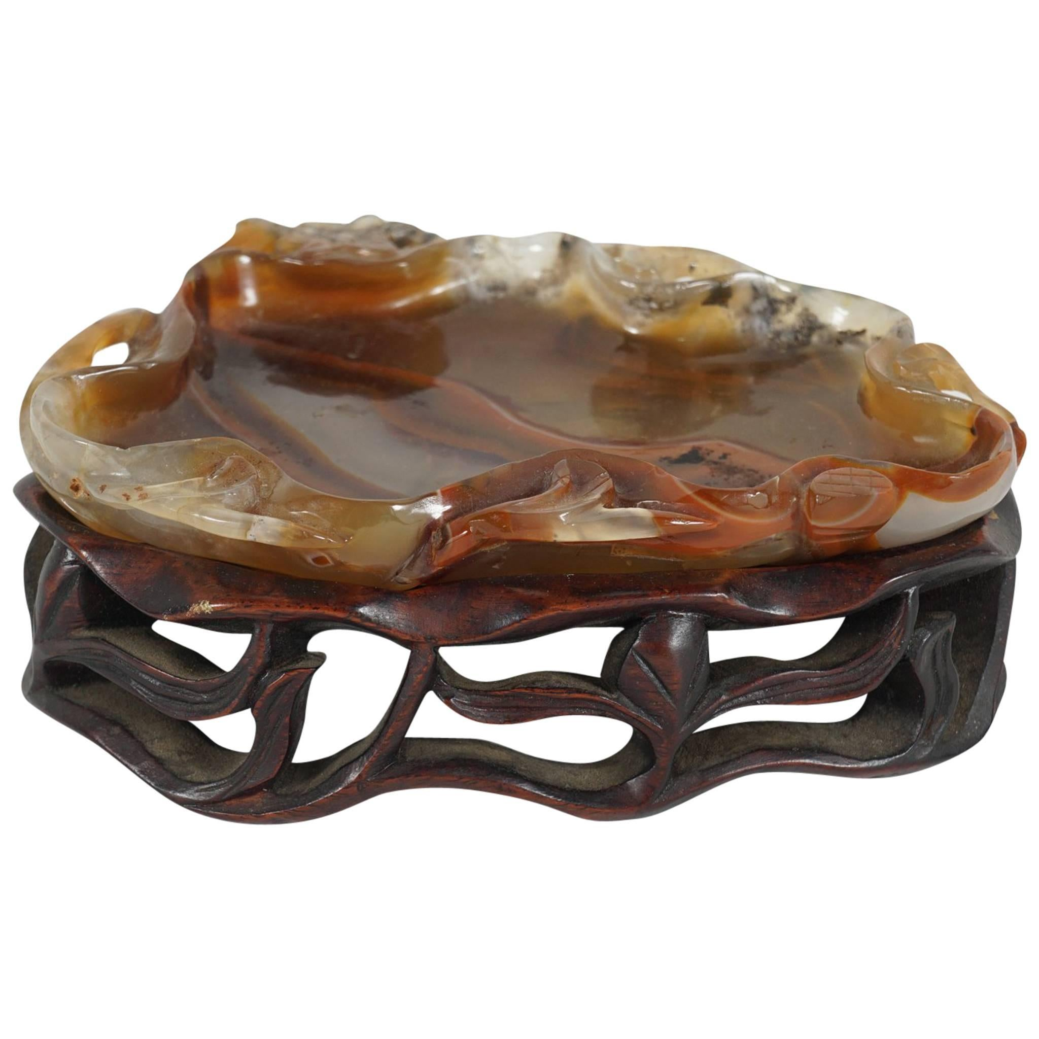 Late 19th-Early 20th Century Carved Chinese Agate Brush Washer on Rosewood Stand