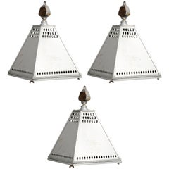 Set of Three Vintage French 1950s Industrial Pendants