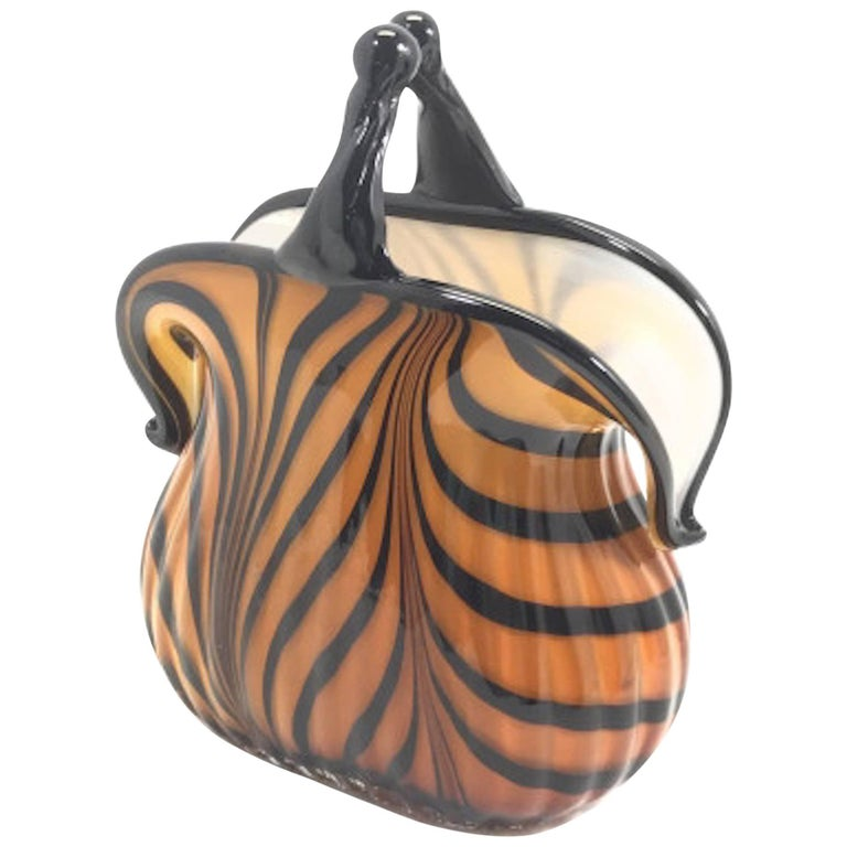 Art Deco Signed Murano Amber Glass Purse At 1stdibs