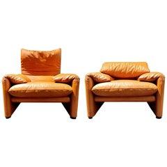 Maralunga Club Chairs by Vico Magistretti for Cassina, circa 1973
