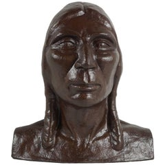 Early 20th Century Bronzed Plaster Head of an American Indian
