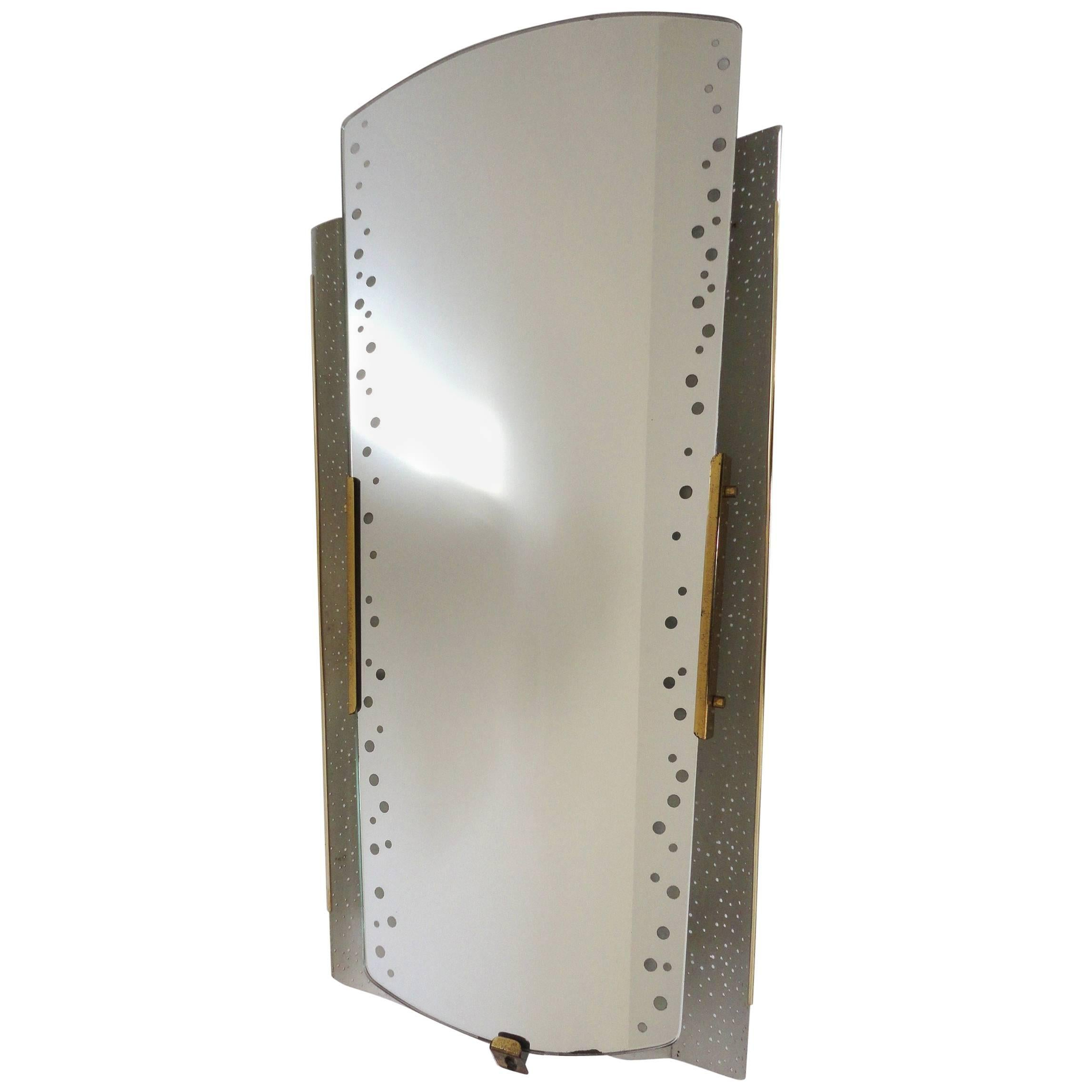 Ernest Igl, Illuminated Back-Lit Mirror, Perforated Metal, Germany, 1950