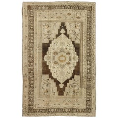 Floral Medallion Turkey Oushak Vintage Rug in Ivory, Taupe, Charcoal and Olive