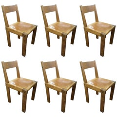 Pierre Chapo Beautiful Set of Six Wood and Leather Chairs, circa 1960