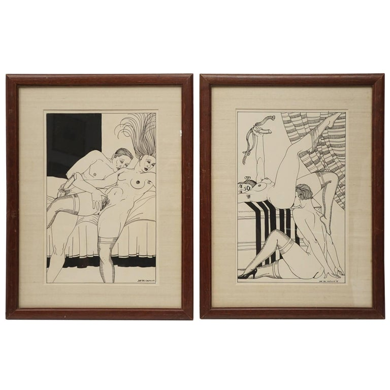 Early 20th Century Pair of Spanish Erotic Pen and Ink with Wash Drawings