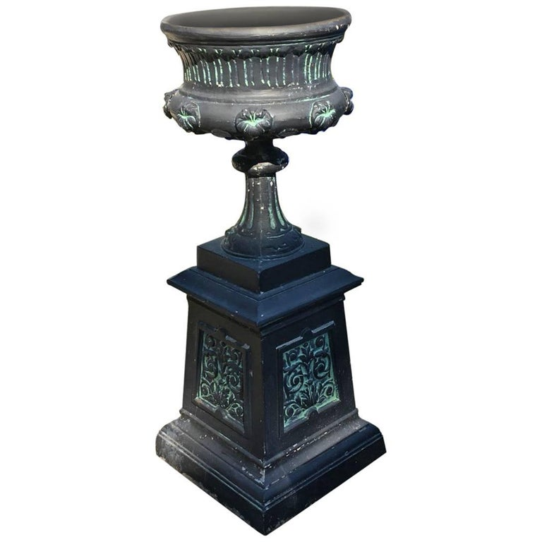 Garden Urn Mounted on Plinth in the Belle Époque Style