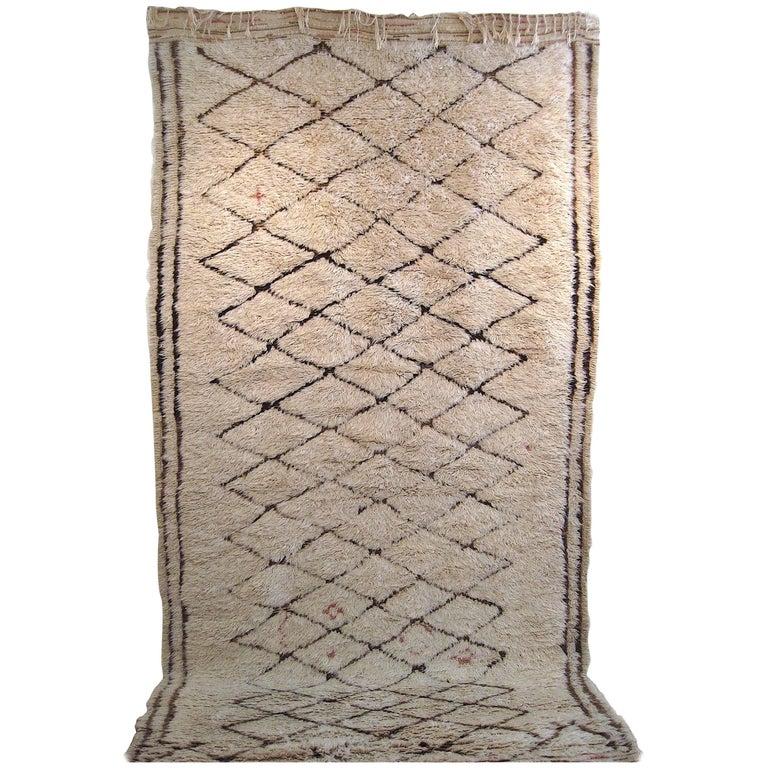Vintage Mid-Century Beni Ourain Moroccan Berber Rug