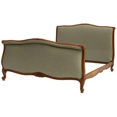 French Bed Recovered in Natural Linen Cherry Scroll End Louis Revival