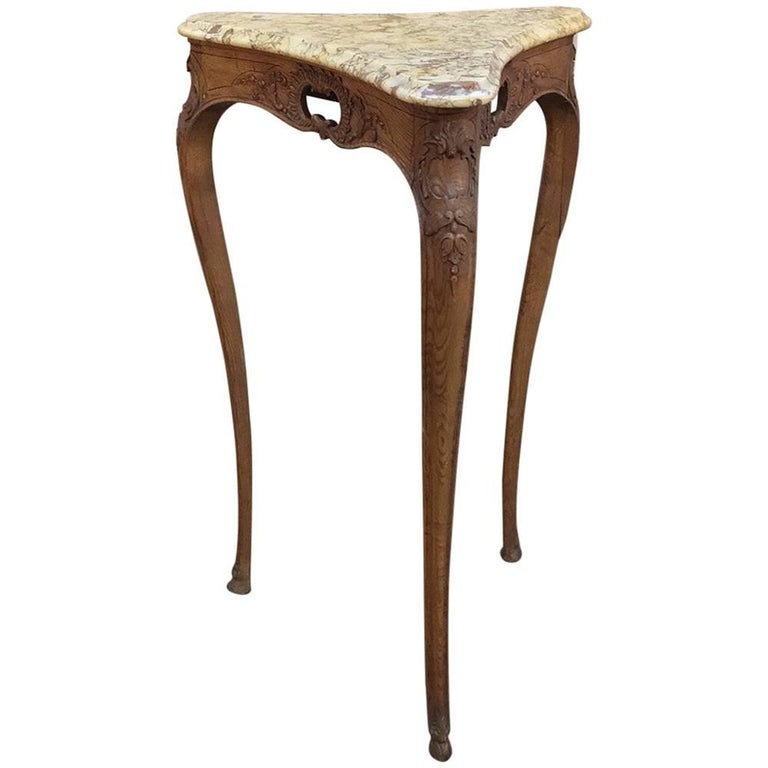 19th Century French Louis XV Marble Top Triangular Lamp Table, Pedestal