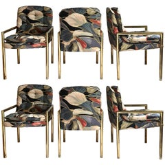 1970s Milo Baughman Style Tubular Brass Dining Chairs, Set of Six