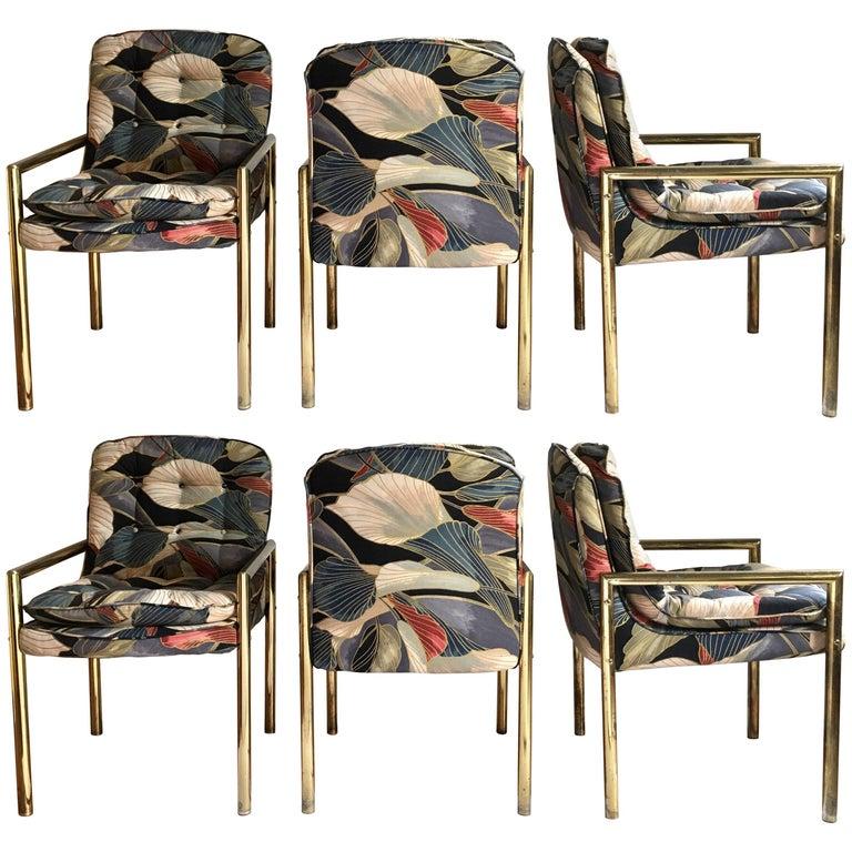 1970s Milo Baughman Style Tubular Brass Dining Chairs, Set of Six