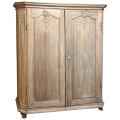Early 19th Century French Regence Stripped Oak Armoire