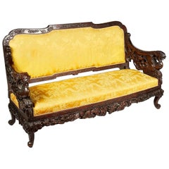 Oriental Carved Sofa, 19th Century