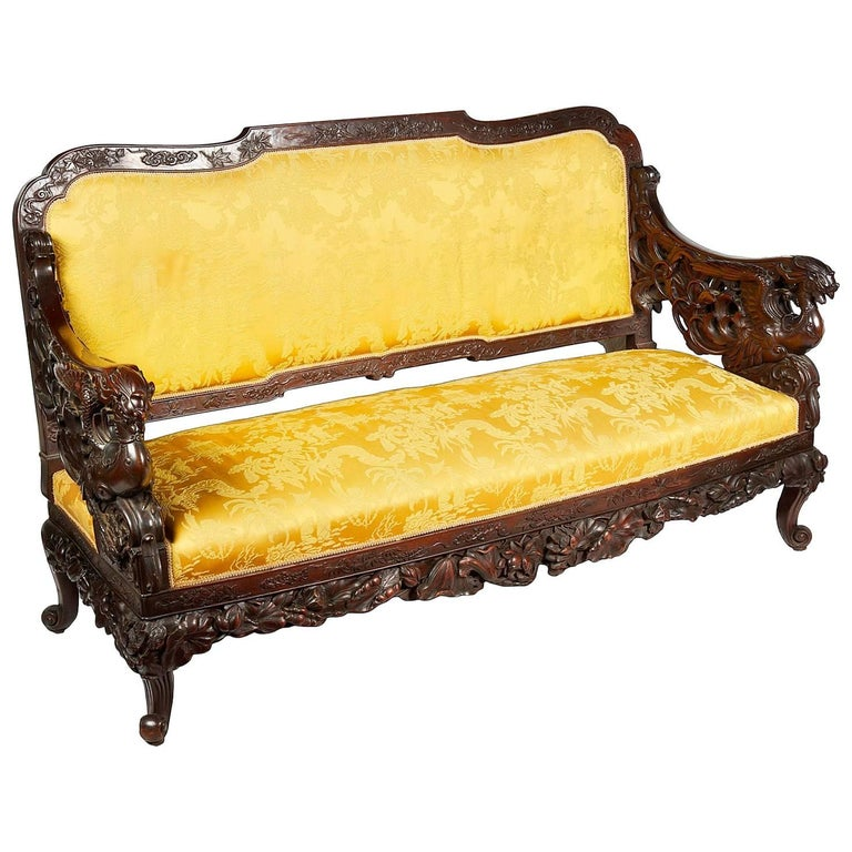 Oriental Carved Sofa, 19th Century For Sale