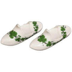 Pair of Meissen Porcelain Green Vine Slipper or Shoe Knife Rests