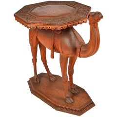 Anglo-Indian Carved Camel Table, 19th Century