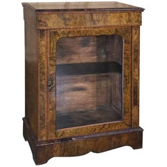19th Century English Inlaid Burl Wood Curio Cabinet