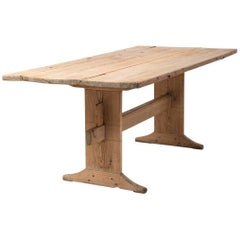 18th Century Swedish Trestle Table in Pine