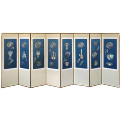 Vintage Korean Blue Silk Embroidered Eight Panel Screen, circa 1940s