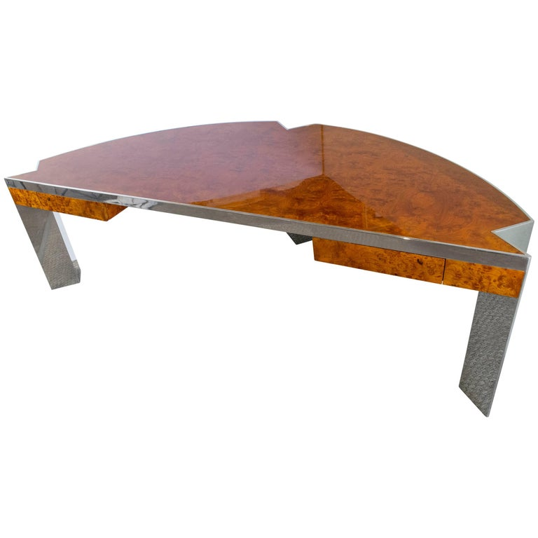 Leon Rosen for Pace Collection 1970s Burl Wood Desk