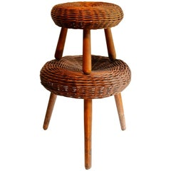 Two Tony Paul Rattan and Wood Foot Stools