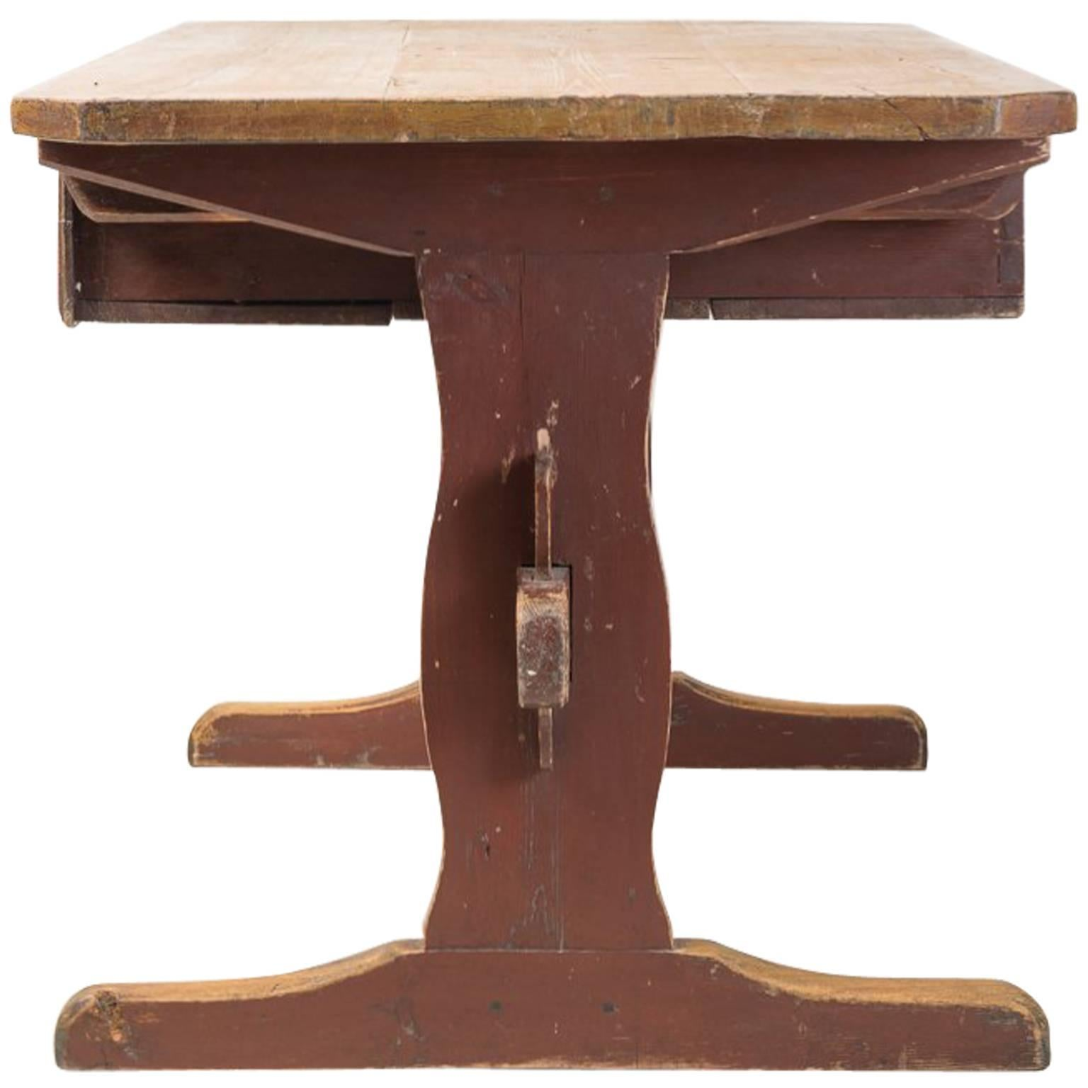 Early 19th Century Painted Swedish Folk Art Trestle Table with Original Paint