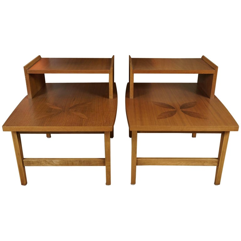 Pair of Stepped End Tables in Maple For Sale