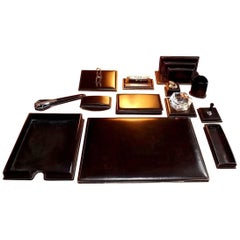 Rare 13 Piece Leather Desk Set by Le Tanneur