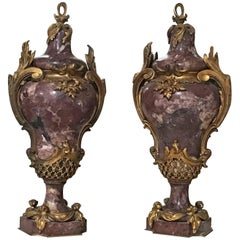 Pair of Bronze and Marble Cassolettes, circa 1820