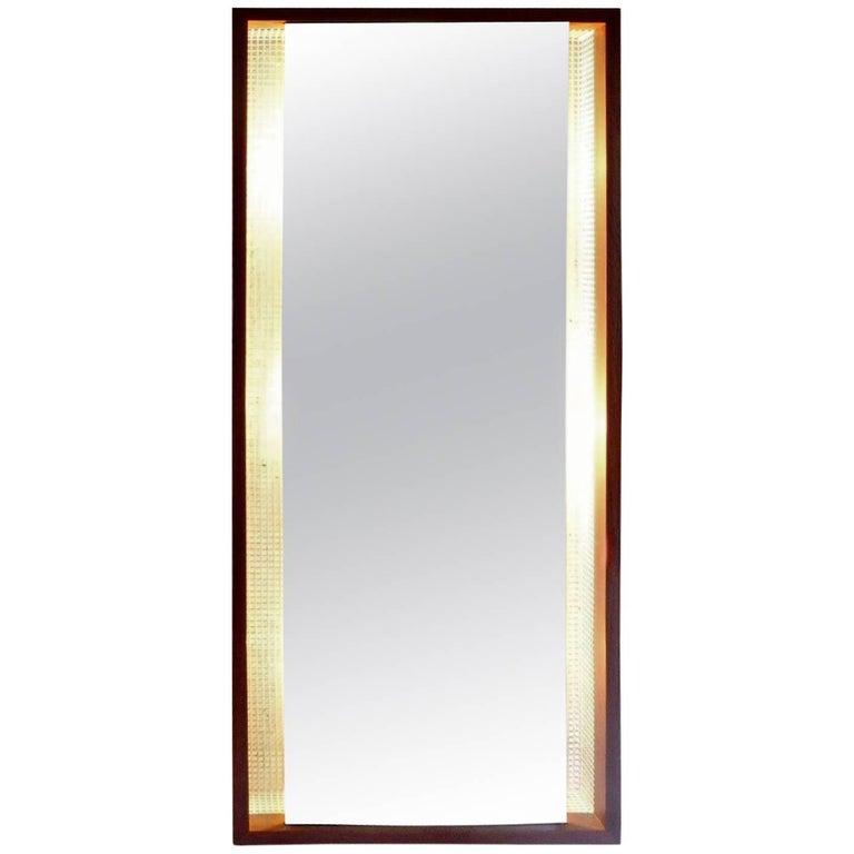 German Teak and Peforated Metal Backlit Mirror